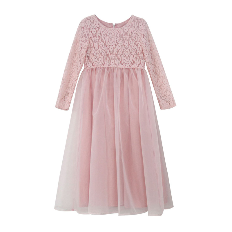 4-13Y Long Kids Girls Lace Dress Formal Party Ball Gown Prom Princess Bridesmaid Wedding Children Tutu Dress RT049 kids girls flower lace dress for party and wedding bridesmaid floral girl dress ball gown prom formal maxi dress 4 14y h3