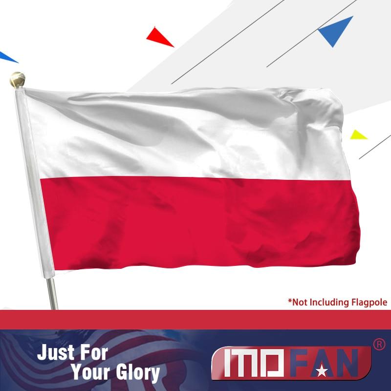 MOFAN Poland Flag Polský polyester Rzeczpospolita Polska Dekorace 3 X 5 Ft