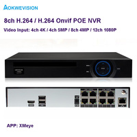 New Arrival XMeye Onvif H 265 H 264 4ch 5MP 8ch 4MP ONVIF POE NVR Network