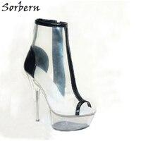 Sorbern из ПВХ с добавлением Цвета ботильоны ясно, Спайк очень высокий каблук с боковой молнией на платформе дизайнерская модная обувь Для женщ