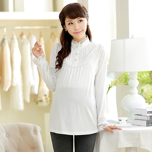 Otoño de Encaje blanco de Maternidad Larga camiseta de Algodón Lindo Embarazo Tops/Ropa/princesa Camisetas Para Premaman/Embarazada mujeres/Femme