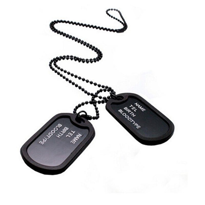 fashion designer men military army style black 2 dog tags chain
