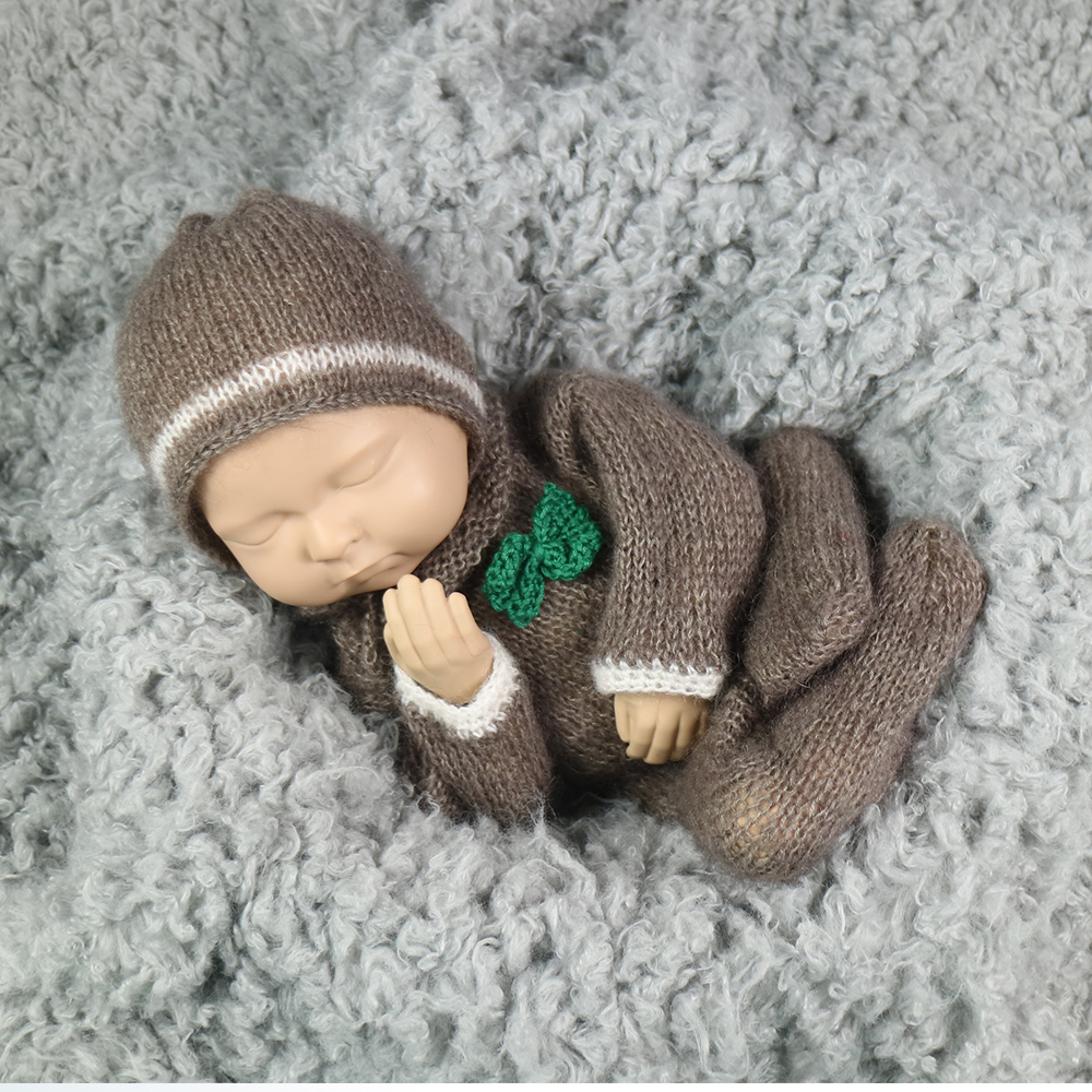 Don&Judy Newborn Baby Photography Props Knit Crochet Romper+Hat 2pcs Set Fotografia Accessory Infant Toddler Studio Shoot Photo dvotinst newborn baby photography props knit crochet hat outfit 2pcs set fotografia accessory infant studio shoot photo prop