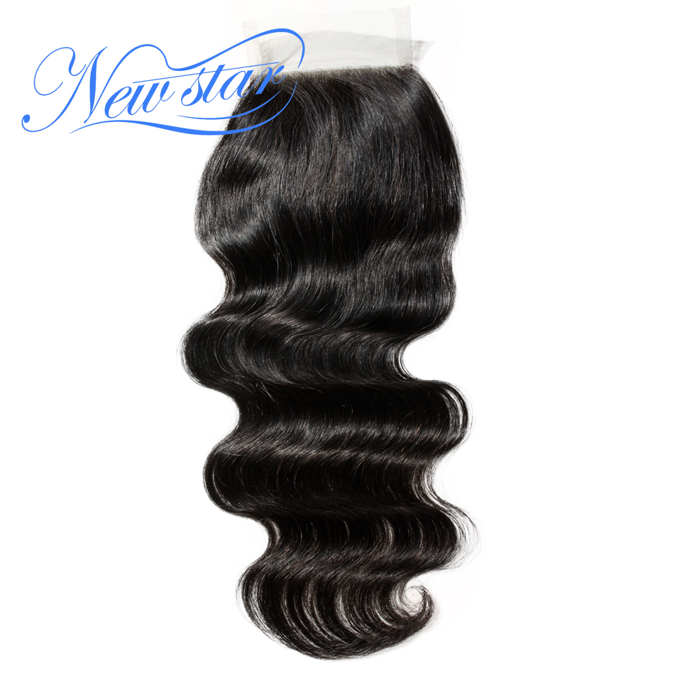 "Brazilian Body Wave 4x4 Lace Closures Free Part 10"" to 20""Inches Natural Color Guangzhou New Star Virgin Human Hair Products"