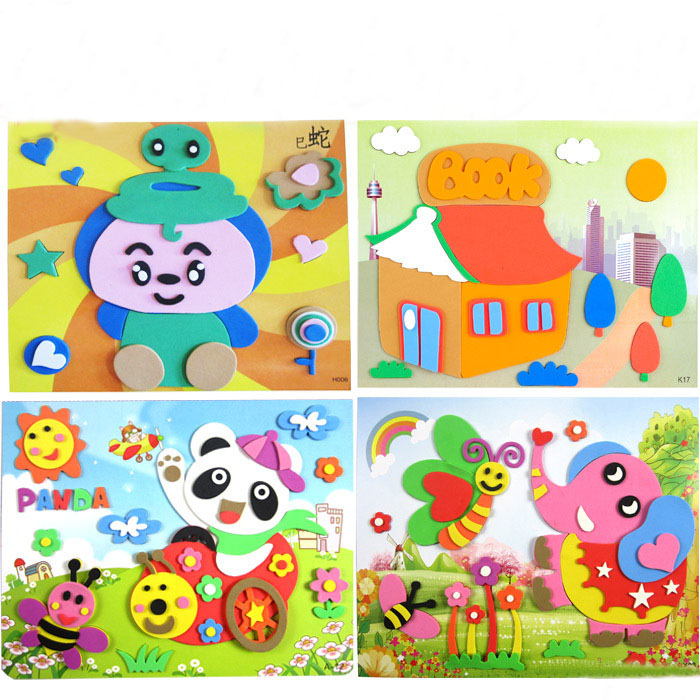 1PCS EVA Three-dimensional Stickers Children's Manual Stickers DIY Puzzle Toys Parent-child Production Kindergarten Art Class