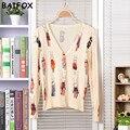 3 Estilo Nuevo Regalo de Año 2017 Marca Womens Cardigan Sweater Moda Hermosa Flor de Mariposa del Conejo Suéter de Punto de Calidad Superior