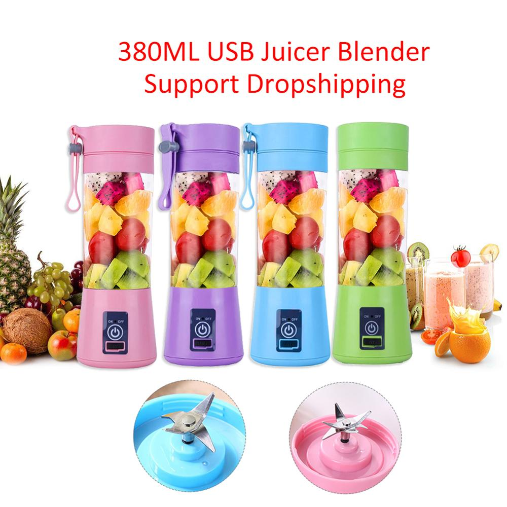 380ml Portable Mini Juicer Juice Machine USB Rechargeable Blender Mixer 4/6 Mixer Leaf Efficient Household Small Juice Extractor