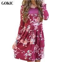 GOKIC Women Autumn Spring Vintage Dress 2017 New Long Sleeve Floral Print Dress Female Slim Elegant