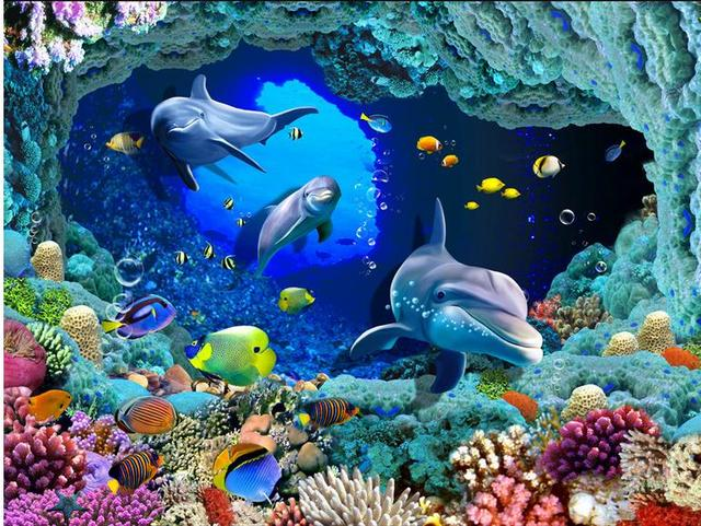 customized photo wallpaper kids room 3d floor painting Dolphin Coral wallpaper 3d flooring wall ...