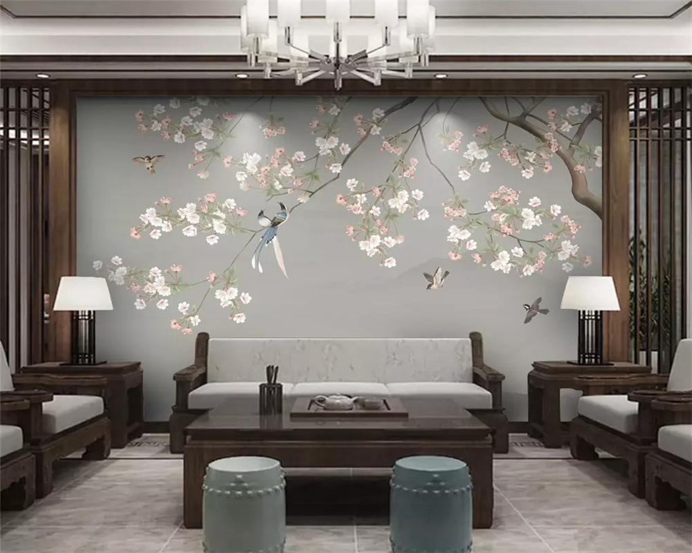 Beibehang Custom Fashion New Chinese Otter Hand-painted Meticulous Flowers And Birds Decorative Painting Wallpaper Papier Peint