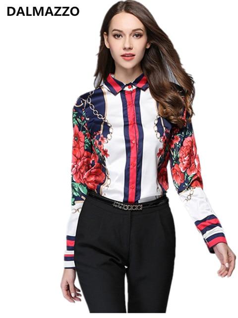 Women Work Blouse 2018 Designer New Spring Autumn Long Sleeve Turn-Down Collar Print Office Casual Runway Shirts Feminina XL XXL