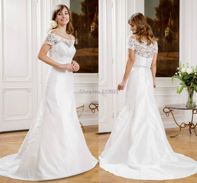 Us 1570 Simple Bridal Gown With Short Sleeves Crystal Beaded Waistline White Taffeta Princess Wedding Dresses 2015 Lace In Wedding Dresses From