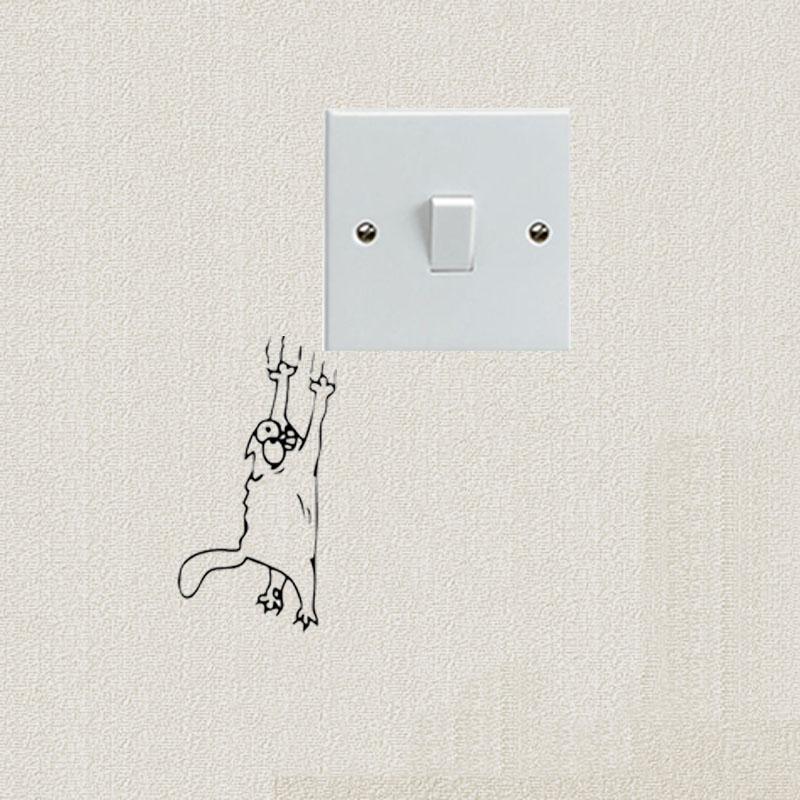 gato arranhando escalada do simon interruptor etiqueta dos desenhos animados da forma bonito engraado vinyl decal