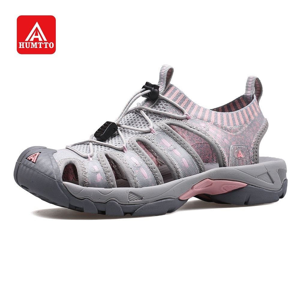HUMTTO Sandals Men Beach Shoes Women Summer Outdoor Soft Breathable Flying Weaving TPU Roman Style