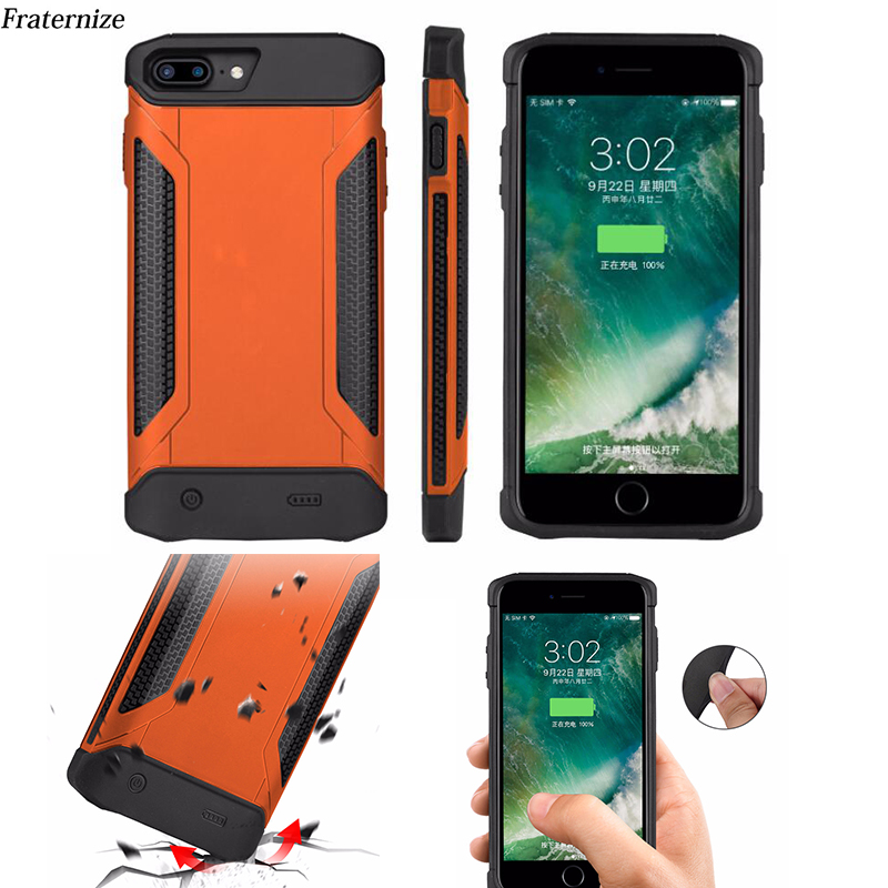 Schokbestendig Slanke Batterij Case Voor Iphone 6 6S 7 8 Plus Power Bank Charing Gevallen Armor Backup Battery Charger back Cover 5000 Mah