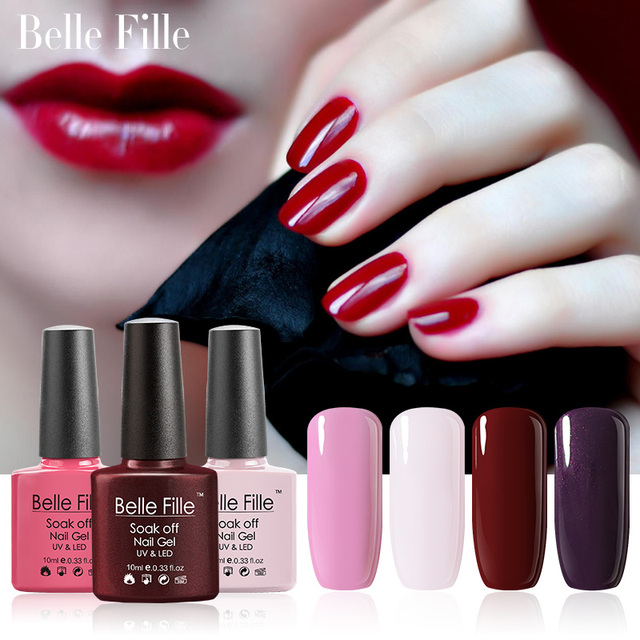 BELLE FELLE 10ml Colorful UV Gel Nail Polish clear coat salon gel ...