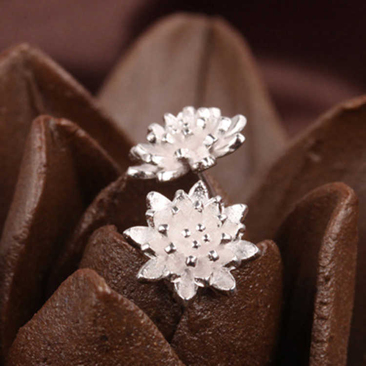 Cute Female Handmade Jewellery Women's 925 Sliver Beautiful Flower Ear Stud Earrings