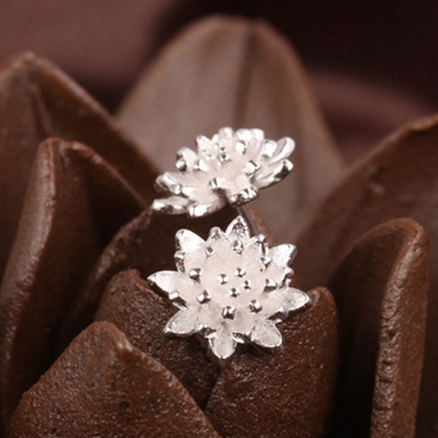 Dễ thương Nữ Làm Thủ Công Đồ Trang Sức Phụ Nữ của 925 Mảnh Đẹp Flower Ear Stud Bông Tai