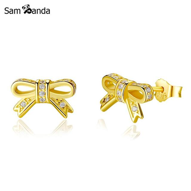 Authentic 100 Original 925 Sterling Silver Stud Earrings Sparkling Bow Earring Cz Earings Shine Gold