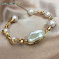 Новый золотой с жемчугом ручной работы барочный жемчуг браслет дизайнер штук
