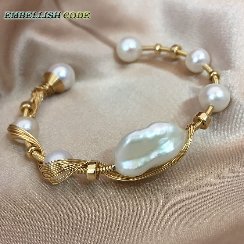 New Gold With Pearls Hand Made Baroque Pearl Bracelet