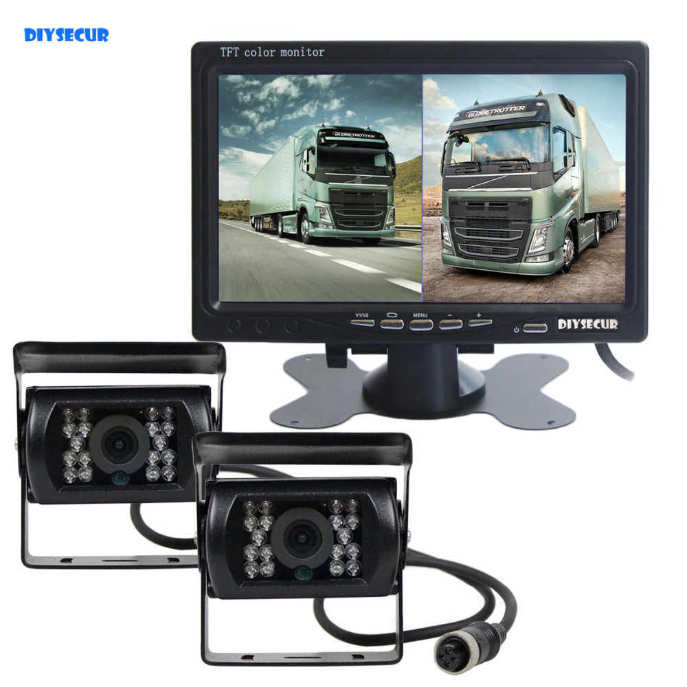 DIYSECUR DC12V 24V 7inch 2 Split LCD Screen Car Monitor HD CCD Rear View Car Camera