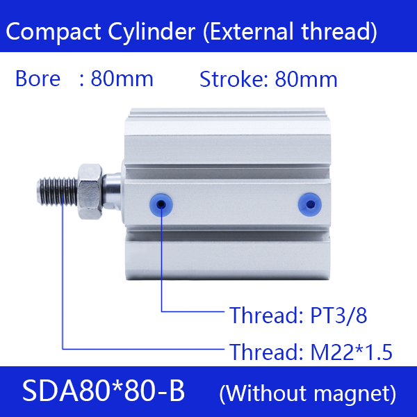SDA80*80-B Free shipping 80mm Bore 80mm Stroke External thread Compact Air Cylinders Dual Action Air Pneumatic Cylinder sda80 50 free shipping 80mm bore 50mm stroke compact air cylinders sda80x50 dual action air pneumatic cylinder
