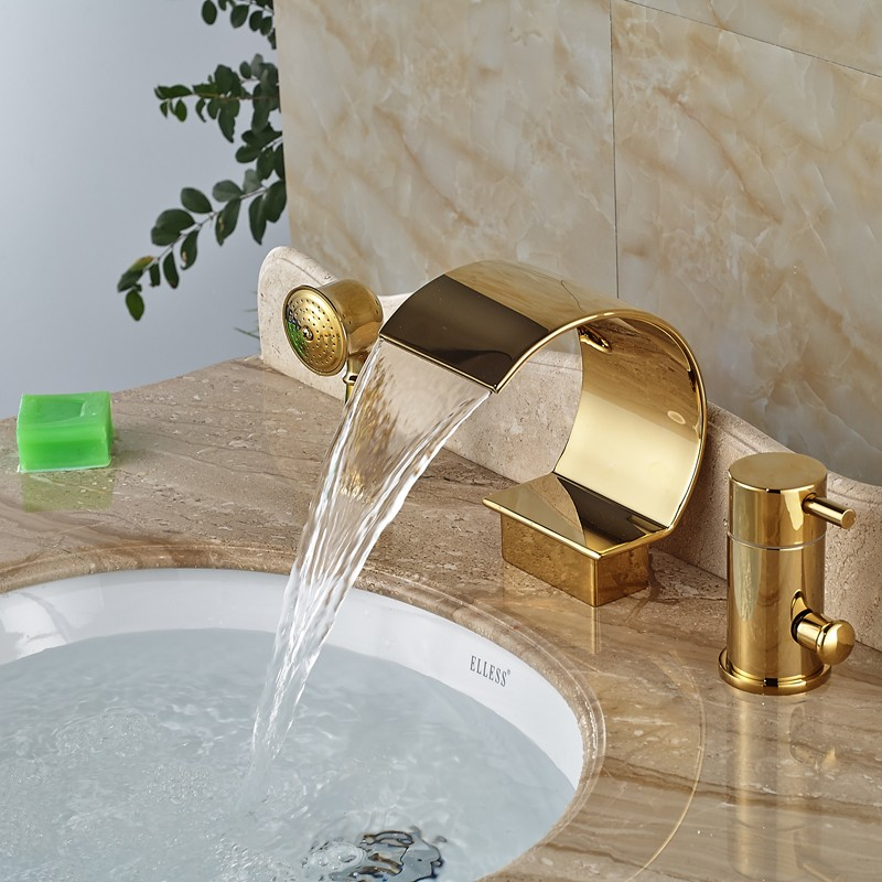 Golden C Shaped Bath Faucet Deck Mounted Single Handle Waterfall ...