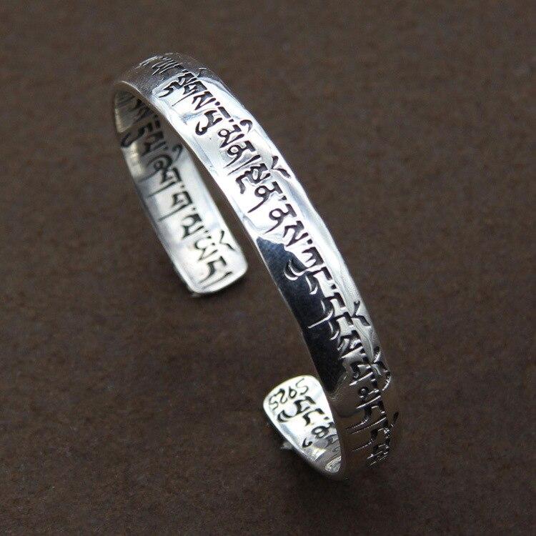 925 sterling silver bracelet Buddhist Sanskrit mantra male and female models evil spirits925 sterling silver bracelet Buddhist Sanskrit mantra male and female models evil spirits