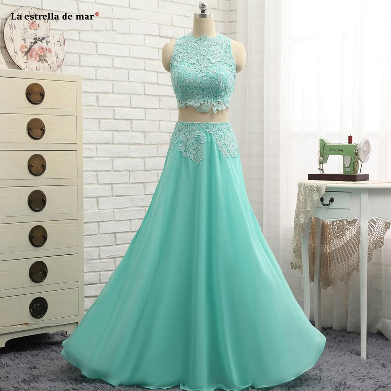 Mint Green Two Pieces   Prom     Dresses   Chiffon And Lace A-line Long Floor Length Special Occasion Party Gowns Real Photos