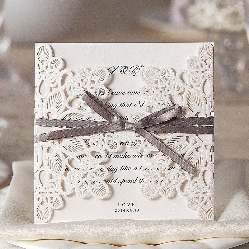 Online Shop 50pcs/Lot Laser Cut Wedding Invitations Elegant ...