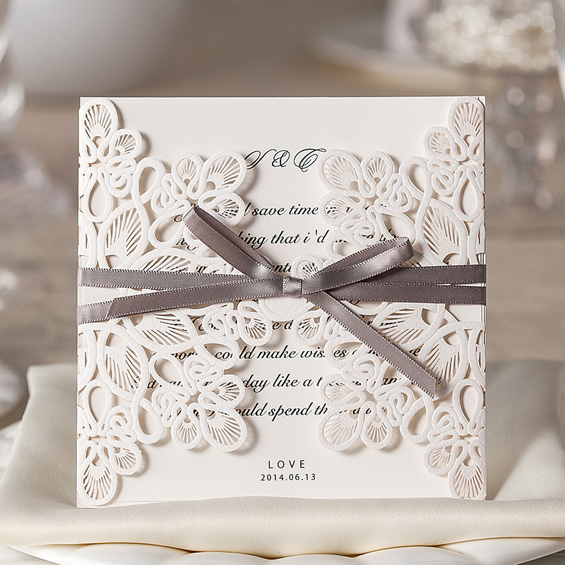 Invitaciones de boda elegantes con corte láser con lazo y flores para tarjetas de invitación personalizables 50 unids/lote-in Tarjetas e invitaciones from Hogar y Mascotas    1