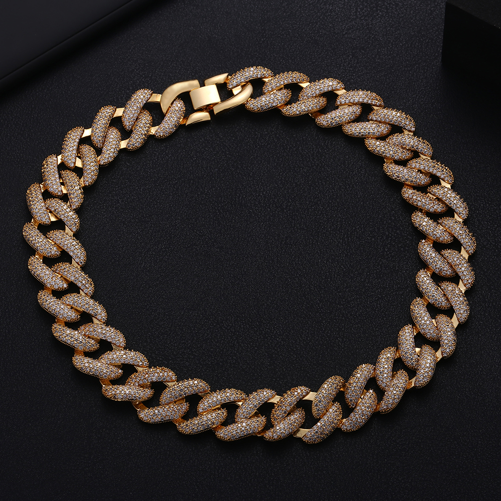 Image 3 - Accking Full  CZ Statement Cuban Link Chain Choker Necklace adjust for Man or Women Bijoux Wholesale free shipping-in Choker Necklaces from Jewelry & Accessories