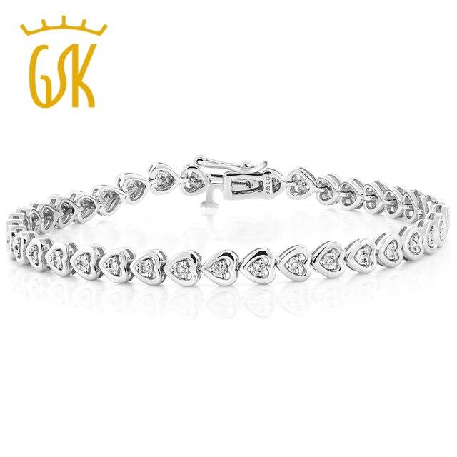 US $89 63 17% OFF GemStoneKing 925 Sterling Silver Heart Shape Women's  Diamond Bracelet Fits Up 7 Inch Wrist-in Bracelets & Bangles from Jewelry &