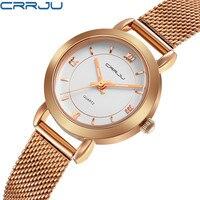 CRRJU Women Watches Ultrathin Stainless Steel Fashion Quartz Wrist Watch Ladies Elegant Dress Watch Rose Gold