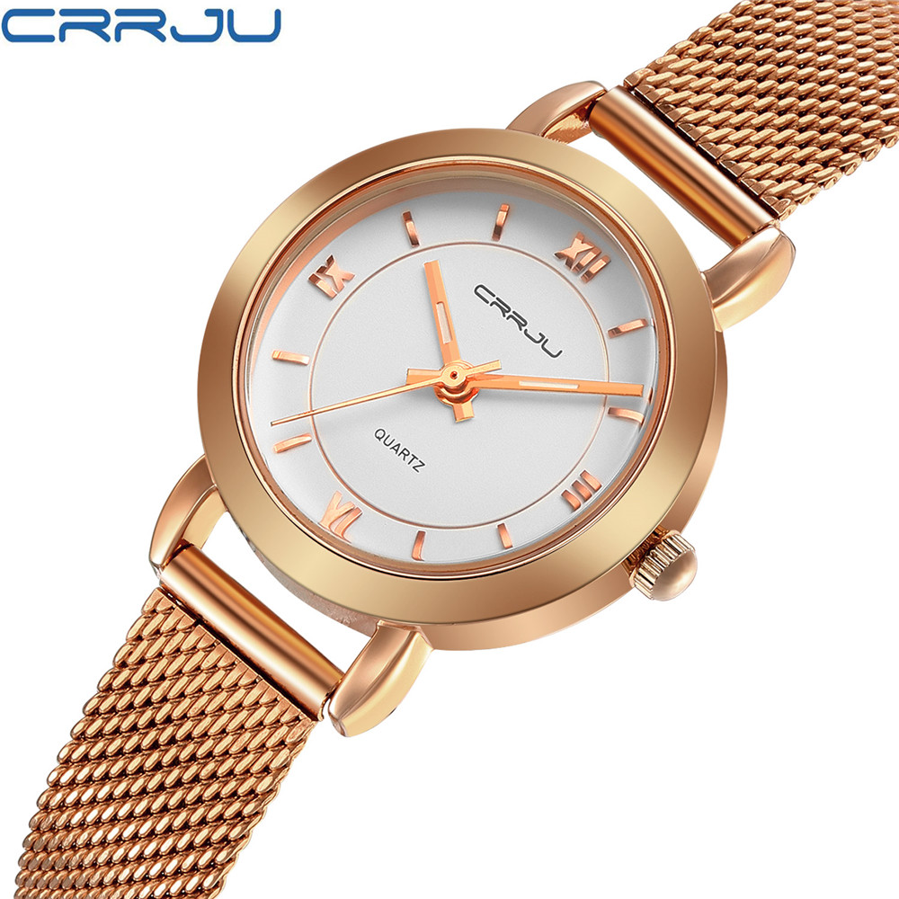 CRRJU Women Watches Ultrathin Stainless Steel Fashion Quartz Wrist Watch Ladies Elegant Dress Watch Rose gold relogio feminino luxury ladies rhinestone gold watch fashion persian cat casual women watches stainless steel quartz wrist watch relogio feminino