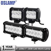 2PCS 18W 4 CREE LED Light Bar Offroad Spot Beam Led Work Lights Driving Headlight Fog