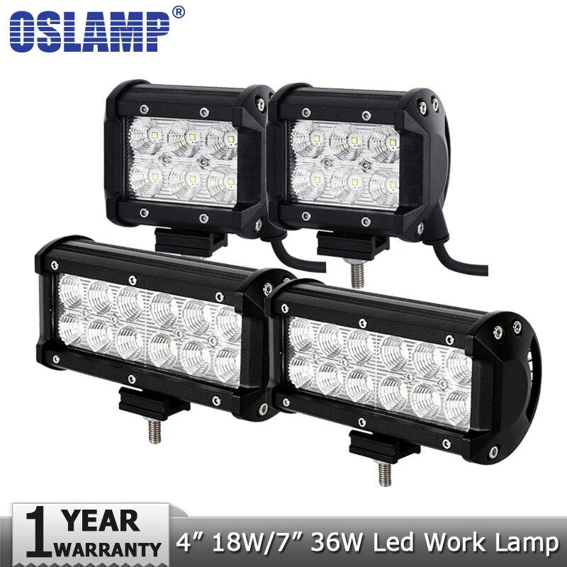 Oslamp 4 pollici 18 W 7 inch 36 W LED del Lavoro Della Luce 12 v 24 v Spot Flood Lampada Da Lavoro a led Luci di Guida Offroad Barca Camion 4x4 4WD ATV SUV