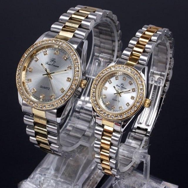 Bulk 4pr for Retailer Silver Face Crystal Surround Men Women Quartz Couple Watches Love 2-tone Band NT7206