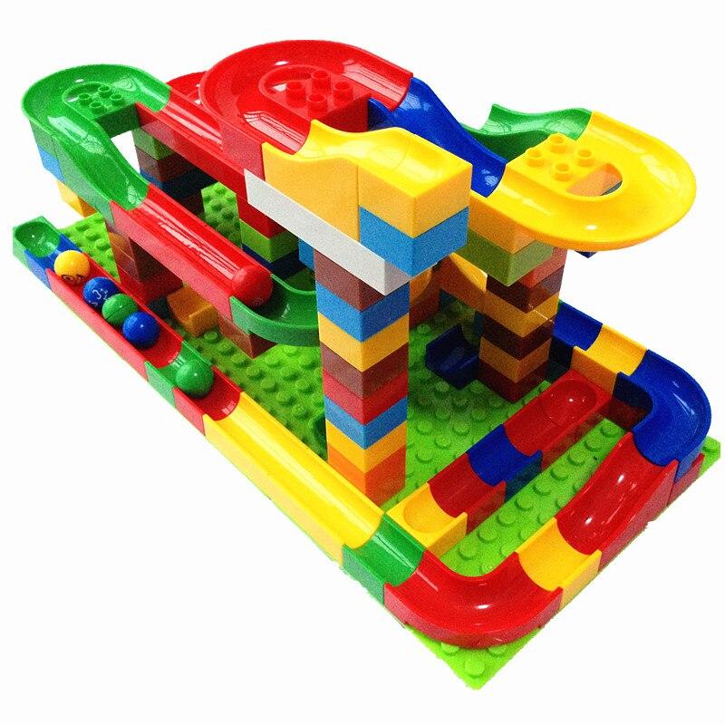 123 pcs Blocs de Marbre Ensemble Fou de Course Boules À VAPEUR Jouets pour Enfants Compatible avec Duplo Briques de Construction