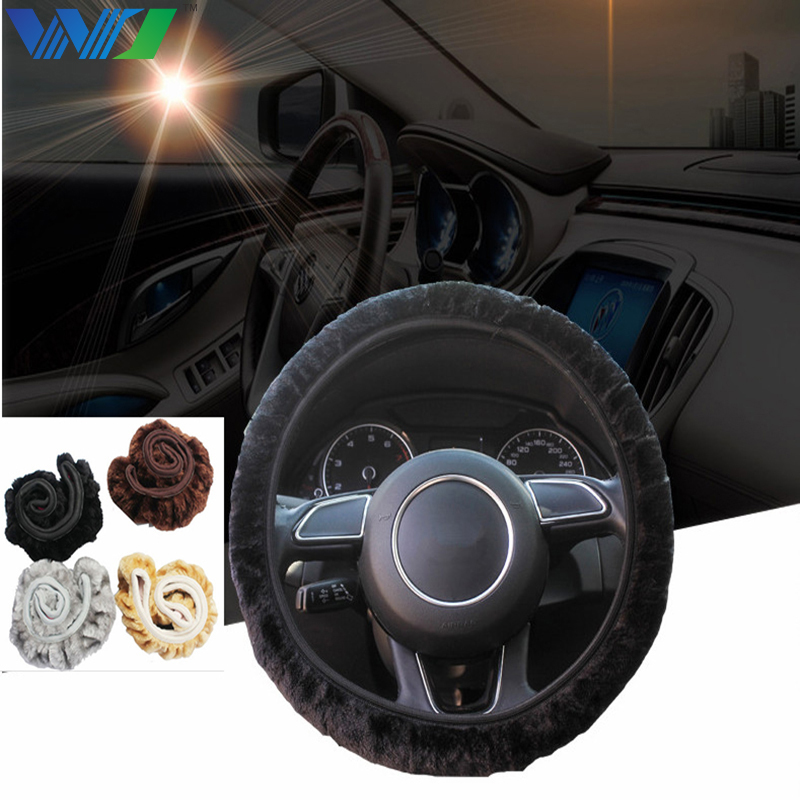 WJ 1 PC Soft Warm Plush Winter Car Steering Wheel-Cover Universal Steering Wheel Cover Auto Supplies Car styling Car Accessories