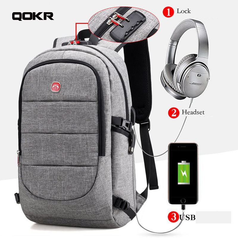 QOKR men usb backpack with anti theft lock and headset hole male oxford business travel 15.6 inch laptop backpack high quality ...