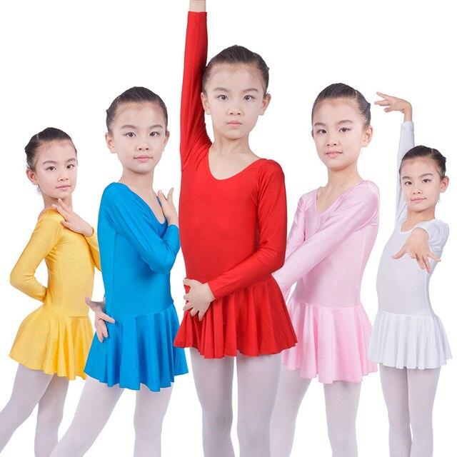 С длинными рукавами Спандекс Гимнастика Купальник Балет Танцы Dress Дети Танец Носить Катание Платья для Девочек