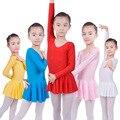 Long sleeved elastano ginástica collant maiô ballet dança vestido crianças dança vestir patinação vestidos para meninas