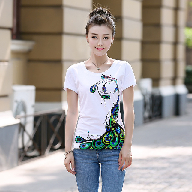 74a8f9753ea Designs Peacock pattern print womens oversized shirts short sleeve o-neck  fashion ladies t shirt female large size tops tees 42