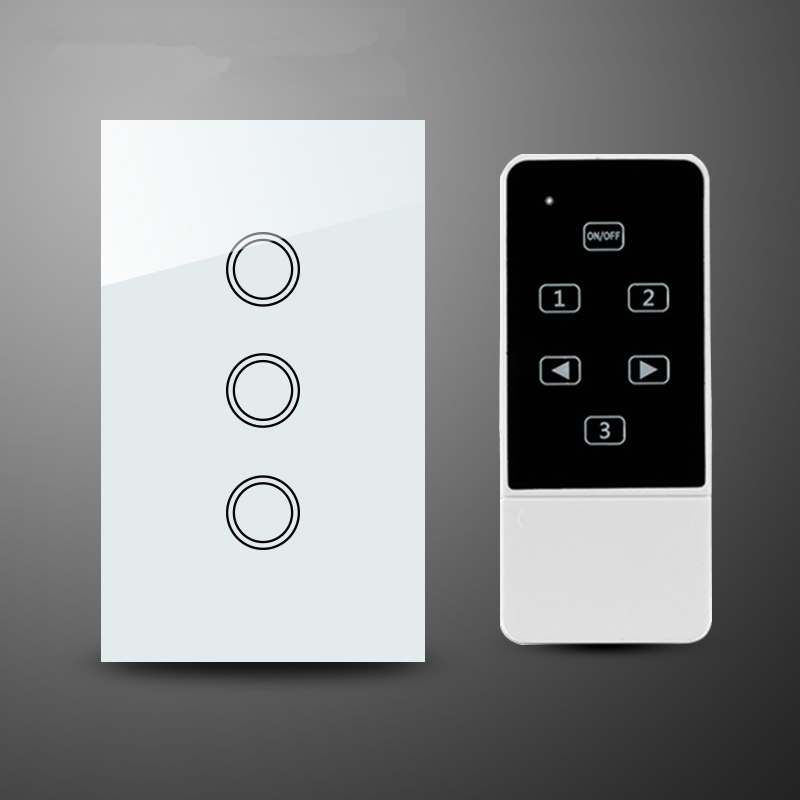 3 gang 1 way Touch Screen Glass Panel and Remote Control Light Switch ,RF 433Mhz Touch switch, US Standard white wall switch white 1 gang 1 way led crystal glass panel light touch screen remote switch for light with wireless remote control 110v 220v