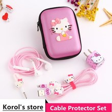 Cute Cartoon USB Cable Earphone Protector Set With Box Winder Stickers Spiral Cord For iphone 5s 6 6s 7