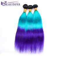 Facebeauty T1B/BLUE/PURPLE Hair Three Bundles 100% Human Straight Hair Brazilian 16 to 26 inch Remy Hair Weave for all woman