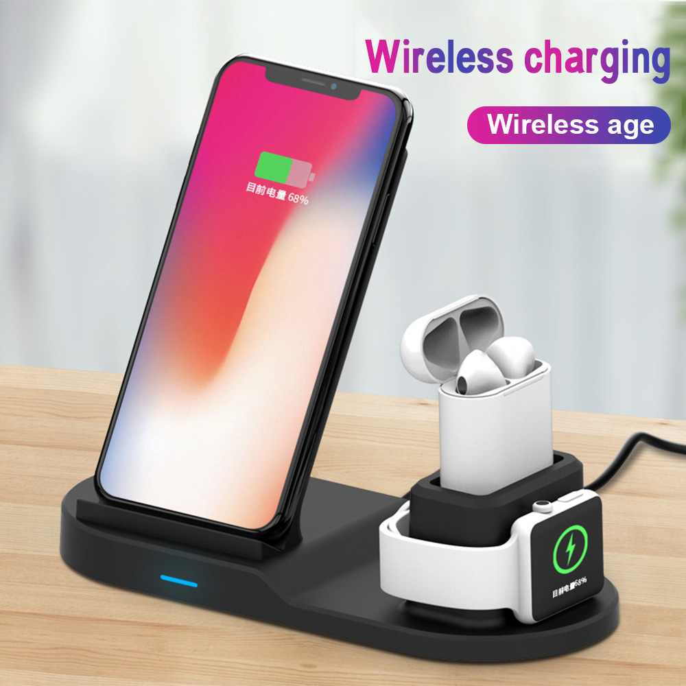 3in1 Qi Wireless Fast Charger Dock Stand For Apple Watch