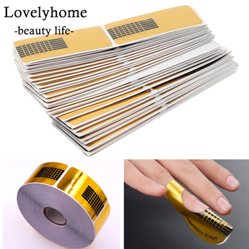 100Pcs Professional French Nail Form Tips Rectangle Nail Art Form Nails Gel Sticker Extension Curl Form For Nail Pololish Guide